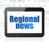 News concept: Tablet Computer with Regional News on display. News concept: Tablet Computer with  blue text Regional News on display,  Tag Cloud background, 3D Stock Images