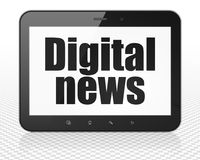 News concept: Tablet Pc Computer with Digital News on display. News concept: Tablet Pc Computer with black text Digital News on display, 3D rendering Stock Images