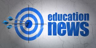News concept: target and Education News on wall background. Success news concept: arrows hitting the center of target, Blue Education News on wall background, 3D Stock Photo