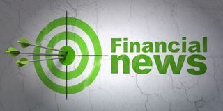 News concept: target and Financial News on wall background. Success news concept: arrows hitting the center of target, Green Financial News on wall background Royalty Free Stock Photos
