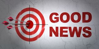 News concept: target and Good News on wall background. Success news concept: arrows hitting the center of target, Red Good News on wall background, 3D rendering Royalty Free Stock Images