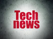 News concept: Tech News on Digital Data Paper background. News concept: Painted red word Tech News on Digital Data Paper background Royalty Free Stock Photos