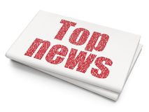 News concept: Top News on Blank Newspaper background. News concept: Pixelated red text Top News on Blank Newspaper background, 3D rendering Royalty Free Stock Photos