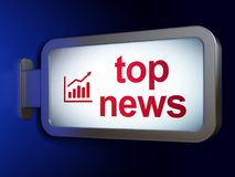 News concept: Top News and Growth Graph on billboard background. News concept: Top News and Growth Graph on advertising billboard background, 3D rendering Stock Images