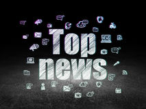 News concept: Top News in grunge dark room Stock Images