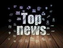 News concept: Top News in grunge dark room. News concept: Glowing text Top News,  Hand Drawn News Icons in grunge dark room with Wooden Floor, black background Stock Photo
