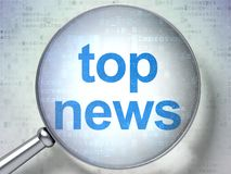 News concept: Top News with optical glass. News concept: magnifying optical glass with words Top News on digital background, 3D rendering Royalty Free Stock Photo