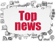 News concept: Top News on Torn Paper background. News concept: Painted red text Top News on Torn Paper background with  Hand Drawn News Icons, 3d render Royalty Free Stock Images