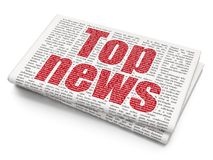 News concept: Top News on Newspaper background. News concept: Pixelated red text Top News on Newspaper background, 3D rendering Stock Photo