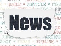 News concept: News on Torn Paper background. News concept: Painted black text News on Torn Paper background with  Tag Cloud Royalty Free Stock Photography