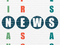 News concept: word News in solving Crossword. News concept: Painted blue word News in solving Crossword Puzzle, 3d render Stock Photo