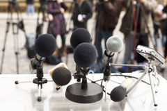 News conference. Microphones at a news conference. Press conference Stock Photo