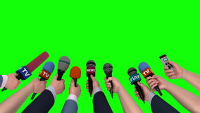 News conference, hands holding microphones on green screen, looping, 3D