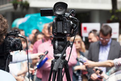 News conference. Media interview. Royalty Free Stock Photo