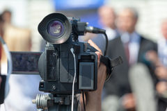 News conference. Public speaking. Filming an event with a video camera. Press conference. Spokesperson Stock Photography