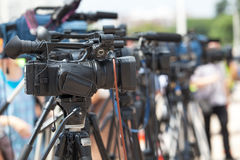 News conference. TV broadcasting. Royalty Free Stock Photos