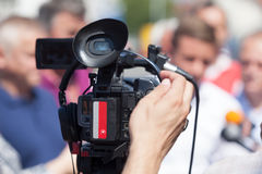 News conference. Video camera. Royalty Free Stock Images