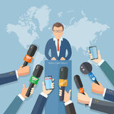 News conference world live tv hands of journalists microphones Stock Images