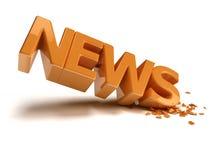 News Crash. Written reflective orange news, the angle of the writing is broken Stock Photo