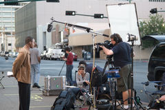 News Crew Of NBC Gathering Stock Image
