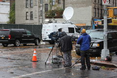 News Crew NYC after Hurricane Sandy Royalty Free Stock Photos