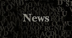 News - 3D rendered metallic typeset headline illustration. Can be used for an online banner ad or a print postcard Stock Photo