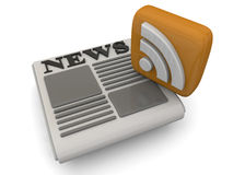 News - 3D. Rss e news on white background Stock Image