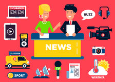 News design concept set of flat icons: Stock Images