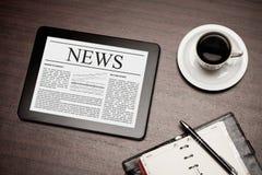 News on digital tablet. Stock Image