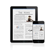News at digital tablet and smart phone Stock Photos