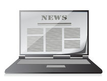 News instead of display on the notebook, laptop. Royalty Free Stock Photo
