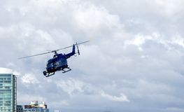 News or event chopper. Helicopter with skid-mounted camera Stock Photo