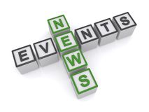 News and events. A crossword made from letter blocks with the words news and events stock illustration