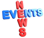 News Events. Isolate text abstract 3D concept Stock Photography