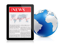 News feed on digital tablet and globe Royalty Free Stock Photography