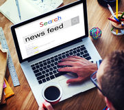 News Feed Information Announcement List News Concept. People Searching News Feed Information Announcement News Royalty Free Stock Photos