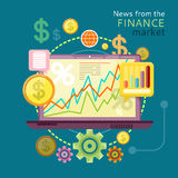 News from Finance Market. Financial diagram on a laptop monitor. News from finance market. Concept in flat design style. Can be used for web banners, marketing Stock Photo