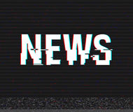 News glitch text. Anaglyph 3D effect. Technological retro background. Vector illustration. Creative web template. Flyer Stock Photos
