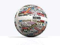 News globe. Conceptual, sphere realized with clippings of newspaper - rendering Royalty Free Stock Photo