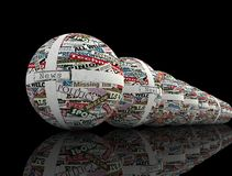 News globe series. Conceptual series of  sphere realized with clippings of newspaper - rendering Stock Images