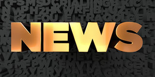 News - Gold text on black background - 3D rendered royalty free stock picture. This image can be used for an online website banner ad or a print postcard Royalty Free Stock Image