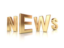 News gold title. News gold letters isolated with reflections Stock Photos