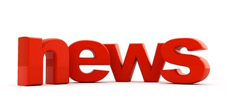 News headline. News word of red three-dimensional letters Royalty Free Stock Images