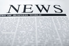 News headline. Latest news  on a newspaper page. classic headline Royalty Free Stock Photo