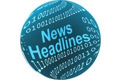 News headlines button. Illustration of circular news headlines button with binary numbers, isolated on white background Stock Photo