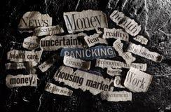 News headlines. Newspaper headlines with economic related topics royalty free stock images