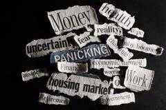 News headlines. Torn paper economic news headlines  - economy  concept Royalty Free Stock Images