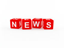 News icon. Formed from red 3D blocks Royalty Free Stock Photo