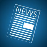 News icon blue. Simple News icon, blue background Royalty Free Stock Photo