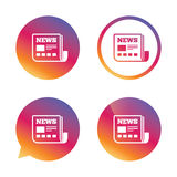 News icon. Newspaper sign. Mass media symbol. Gradient buttons with flat icon. Speech bubble sign. Vector royalty free illustration